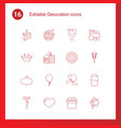 16 decoration icons vector image vector image