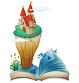 A book with an image of an island with a castle vector image vector image