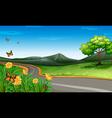 A narrow road under the clear blue sky vector image vector image