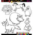 animals set cartoon coloring book vector image vector image