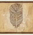 Artistically drawn stylized tribal graphic feather vector image vector image
