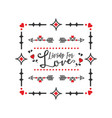 black and red living for love message square frame vector image vector image