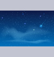 blue night starry sky bright star to fall vector image vector image