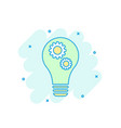 cartoon colored light bulb with gear icon in vector image