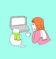 cartoon cute woman and cat watching vector image