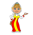 cartoon girl in Russian national dress vector image