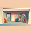 cartoon of garage interior vector image