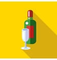 Champagne with a glass icon flat style vector image vector image
