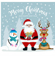 christmas card with santa snowman and reindeer vector image