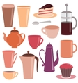 Collection of tea and coffee items vector image vector image