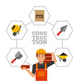 construction worker holding bricks and tools vector image