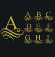 curly font calligraphic alphabet vector image vector image