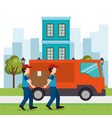 delivery workers lifting box characters vector image vector image