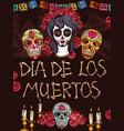 dia de muertos mexican calavera skull symbols vector image