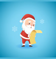 festive christmas funny santa claus holding gift vector image vector image