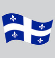 flag of quebec waving on gray background vector image vector image