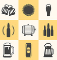 Flat Design Beer Icons Black on Light Background vector image