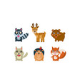 flat set adorable forest animals vector image vector image