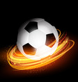 football or soccer ball on glowing lines vector image