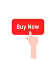 forefinger press on red buy now button vector image vector image
