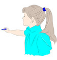 girl with pencil in hand vector image