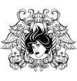 hand drawn surreal woman face devil and ornate vector image vector image