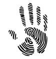 handprint with fingerprint pattern vector image