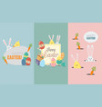 happy easter greeting card collection vector image