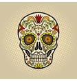 Human skull with patterns comic book vector image