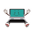 kawaii laptop technology funny cartoon vector image vector image