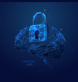 lock and brain low poly blue vector image vector image