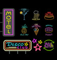 motel and disco club neon sign vector image