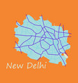 new delhi map flat style design vector image vector image