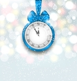 New Year Midnight Shimmering Background with Clock vector image vector image