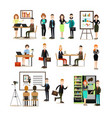 office people flat icon set vector image vector image