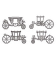 outline set royal horse chariot carriages vector image vector image