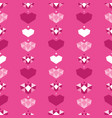 pink geometric hearts seamless pattern vector image vector image