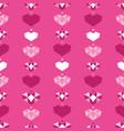 pink geometric hearts seamless pattern vector image