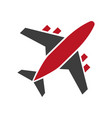 plane icon in red and black colors isolated on vector image vector image