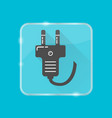 plug silhouette icon in flat style on transparent vector image vector image