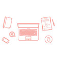 red thin line business office workspace items vector image