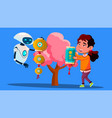 robot with child hangs chinese lantern on tree vector image