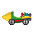 rocket car in green and yellow color vector image