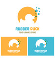 rubber duck toy silhouette with blue bubbles logo vector image vector image