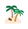 sandy island with two coconut palm trees and vector image
