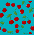 seamless pattern cherry on azure background vector image vector image