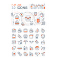 set line icons fast food vector image vector image