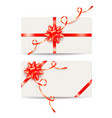 set of gift cards with red bows and ribbons vector image