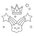 shooting stars and crown black and white vector image