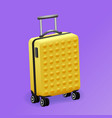 single yellow luggage travel bag isolated vector image